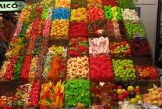 The most amazing display of candy, fruits, and vegetables I've ever seen were at the La Bouqueria Market in Barcelona, Spain. This market has existed since the beginning of the 13th century, and is locate just off the main street of Las Ramblas.