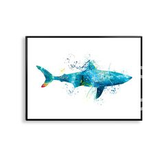 Watercolor Shark Shark Art Print Shark Painting Shark by artRuss