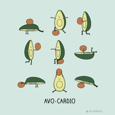 Esporte do abacate nesta copa! Regrann from - from with . with avo-cardio. its a thing / . Cute Puns, Funny Puns, Funny Cartoons, Funny Posters, Hilarious, Cute Avocado, Avocado Food, Avocado Dessert, Avocado Recipes