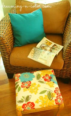 Milk paint stool makeover - love the fabric and that chair