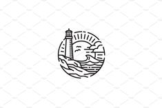 Lighthouse Coastal Beach logo by on Lighthouse Drawing, Ocean Drawing, Summer Logo, Beach Logo, Summer Tattoo, Beach Aesthetic, Creative Logo, Logo Design Inspiration, Mussels