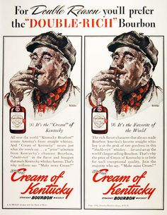 1940 Schenley's Cream of Kentucky Straight Bourbon Whiskey vintage ad. A Double Proof whiskey with the mark of merit. Far and away the world's largest selling bourbon. It's the creme of Kentucky!