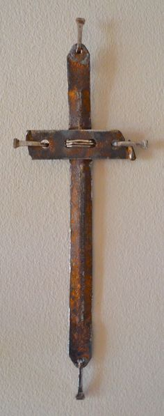"""Rock of Ages"" industrial scrap iron cross, 12"" tall x 4"" wide"