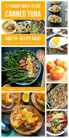 Looking for recipe inspiration when it comes to using canned tuna? This pantry staple is perfect for fixing quick & healthy meals on a budget. I've compiled 17 yummy ideas for using tuna and 70 real food recipes for you to try. Healthy Recipes On A Budget, Quick Healthy Meals, Budget Meals, Whole Food Recipes, Easy Meals, Healthy Eating, Fish Recipes, Lunch Recipes, Easy Dinner Recipes