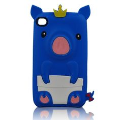 Blue Cute Cartoon 3D Pig Design Silicone Case for Apple iPod Touch 4/4g/4th Generation