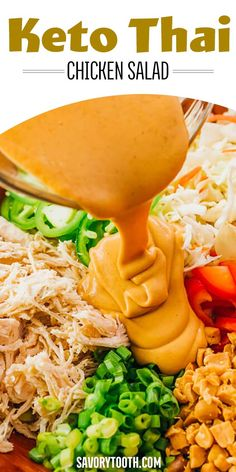 Low Carb Thai Chicken Salad - Savory Tooth - This chopped Thai Chicken Salad is a healthy and slightly spicy asian salad, tossed with peanut dre - Ketogenic Recipes, Diet Recipes, Cooking Recipes, Healthy Recipes, Ketogenic Diet, Diet Tips, Recipes Dinner, Recipies, Easy Low Carb Recipes