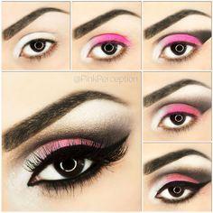 Black, white, and pink smoky eye