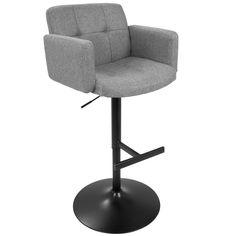 Lumisource Stout Height Adjustable Barstool, Black/Grey