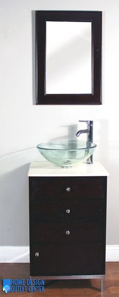 "Give your bathroom an upscale appearance with this elegant bathroom vanity. A beautiful cream marble top and vessel sink completes the perfect look.  Constructed of highest quality solid birch wood and veneers.  Engineered to prevent against moisture.  ½"" Cream Marble top, glass vessel sink.  Pop-up drain assembly.  Mirror included  Vanity has opening for plumbing.  Single hole faucet openings.  Minimal assembly required (finished cabinet). Hand crafted."