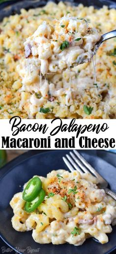 Bacon Jalapeno Mac n Cheese recipe is a nice twist from the original. Cheesy pasta with smoky bacon and with the heat of jalapenos. Bacon Jalapeño Mac n Cheese has the perfect amount of heat, with smoky bacon and the perfect cheesy sauce. Bacon Jalapeno Mac And Cheese Recipe, Jalapeno Recipes, Stuffed Jalapenos With Bacon, Bacon Jam, Gourmet Mac And Cheese, Cheese Recipes, Recipes With Jalapenos, Cheesy Pasta Recipes, Macaroni Cheese With Bacon