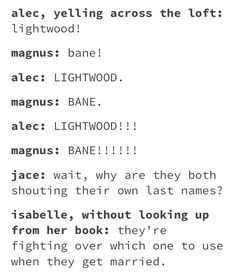 Lightwood cuz then magnus gets to be part of a family and not just a dead mom and satanic dad