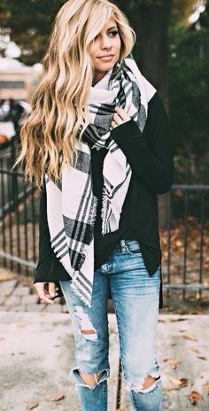 Distressed denim + plaid scarf.