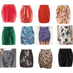 """Tulip Shaped Skirts"" by courtneycjo on Polyvore TR Skirts should be soft and shapely. Your version of a ""straight"" skirt is actually tulip-shaped, with some gathering at the waist and a narrow taper at the hem."