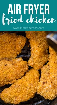"""This Air Fryer Fried Chicken is a 20-minute recipe for the best """"fried"""" chicken! It's tender and juicy on the inside with a perfectly golden-brown, crispy, and flavorful exterior. It's a healthier, easier, less-mess alternative to classic fried chicken! #airfryer #chicken #recipes   air fryer recipes   air fryer chicken breast   air fryer chicken recipes   easy dinner ideas   healthy dinner ideas"""
