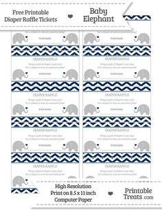 Free Navy Blue  Chevron Baby Elephant Diaper Raffle Tickets