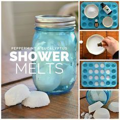 Essential oil shower steamers and melts-- No time for baths, but love the aromatherapy benefits of bath bombs? Try shower melts! 15  ideas for essential oil blends to use in shower steamers (1) to wake up