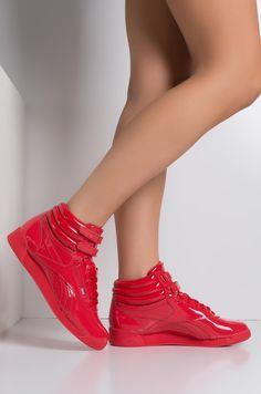 5daaea9cbb9 Front View Reebok Classic Hi-top Patent Sneaker in Red High Tops