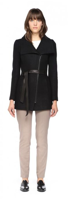 360$ SOIA & KYO - DREW BLACK FITTED WOOL JACKET FOR WOMEN WITH LEATHER BELT
