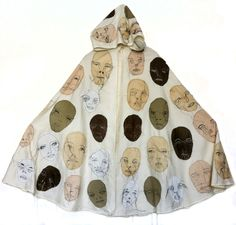 Man of Many Faces Cape, machine embroidered - Rae Miranda Textile Fiber Art, Thread Art, Many Faces, Wearable Art, Alexander Mcqueen Scarf, Cape, Masks, Arts And Crafts, Textiles