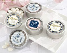 Nautical Wedding Themed Round Personalized Candy Tin