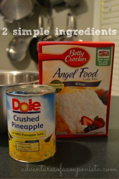 Weight Watchers Pineapple Angel Food Cake Recipe – Only 2 Ingredients! recipe for angel food cake Weight Watcher Desserts, Weight Watchers Cake, Weight Watchers Pineapple Cake Recipe, Weight Watchers Angel Food Cake Recipe, Cake Mix Recipes, Ww Recipes, Cooking Recipes, Ww Cake Recipe, Cake Mixes