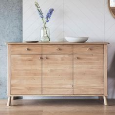 This 3 door, 3 drawer sideboard from the Wycombe range is made from the finest solid oak & veneers. It has a Nordic style, with contemporary aesthetic colour. Solid Oak Sideboard, Luxury Loft, Living Room Storage, Rustic Furniture, Den Furniture, Furniture Ideas, Furniture Makers, Furniture Stores, Luxury Furniture