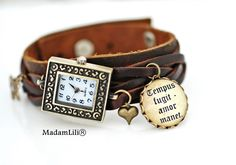 Armbanduhr Zeit vergeht, Liebe bleibt © Echtleder von MadamLili® ♥ Nostalgieschmuck für Romantiker ♥ Das Original seit 2009 auf DaWanda.com