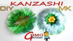 Канзаши МК. Пушистая и мягкая заколочка с цветком из лепестков Канзаши. ...