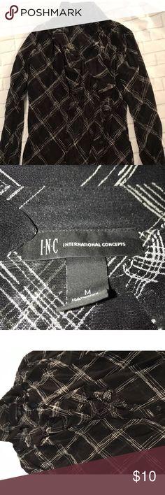 International concepts INC blouse medium INC international concepts blouse black and white size medium. Ruffled neck. INC International Concepts Tops Blouses