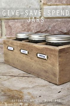 DIY Give Spend Save Jars - Teaching Kids about Saving Giving and Spending Money MichaelsMakers Lil Blue Boo