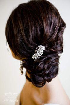 Wedding hairstyle idea; Christine Barker via Up Do's for I Do's