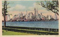 Linen New York Lower Manhattan Vintage Postcard unposted White Border