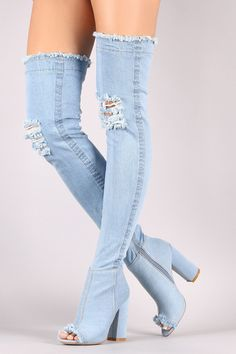 Distressed Denim Chunky Heeled Over-The-Knee Boots #ladiesfashion #ladiesboots #casualdresses #ladiestop #womensfashion #womenshoes #womenboots