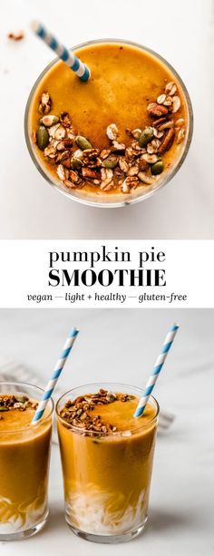 This Pumpkin Pie Smoothie has all the flavours you love in a pumpkin pie, but is much healthier and made in just 5 minutes! #pumpkinpie #smoothierecipe #pumpkinsmoothie #fallbreakfast Yummy Smoothie Recipes, Healthy Breakfast Smoothies, Snack Recipes, Sweets Recipes, Healthy Drinks, Drink Recipes, Healthy Eats, Vegan Recipes, Sugar Free Cookies