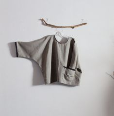 natural linen oversized top with gray lace by linenclothingbyanny