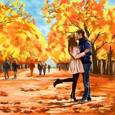 Autumn Kiss In Park by Tim Gilliland ~ couple in love