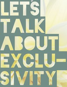 Discussing exclusivity on the blog today.