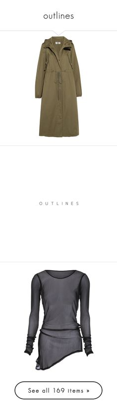 """""""outlines"""" by the-lonely-wallflower ❤ liked on Polyvore featuring outerwear, coats, jackets, army green, brown coat, hooded trench coats, trench coat, zip coat, brown trench coat and text"""