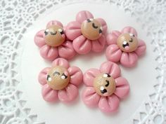 Polymer Clay Cabochons 5pc DIY Supplies Pink Smiling Flower