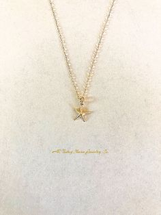 Tiny Summer Starfish Charm Necklace Seashore Charm Nautical Pendant Necklace