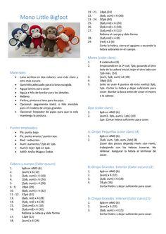 Mono Little Bigfoot. Crochet Snail, Bobble Crochet, Cute Crochet, Crochet Animals, Crochet Toys, Crochet Dog Patterns, Crochet Bunny Pattern, Crochet Designs, Crochet Slippers