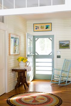 Farmhouse Screen Door.  Perfect compliment to the vertical beadboard walls.