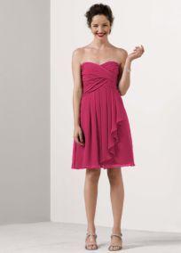 Short Crinkle Chiffon Dress with Front Cascade - David's Bridal (WATERMELON) $139