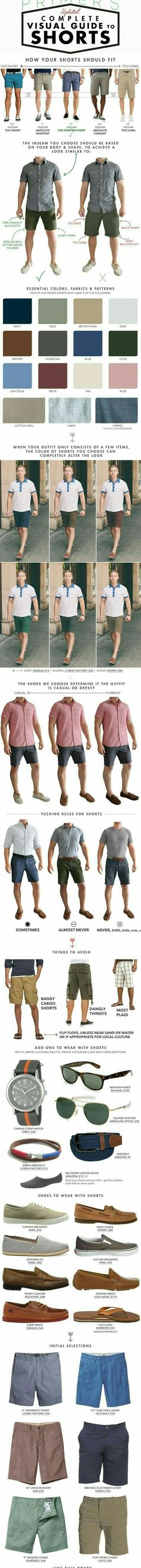 Stay cool and look smart this summer with our complete visual guide for all things shorts, covering fit and fabric to shoes and accessories. Like the Clif notes guide to men's summer fashion. Mode Masculine, Mode Outfits, Fashion Outfits, Fashion Tips, Fashion Trends, Fashion Clothes, Fashion Ideas, Fashion Check, Style Clothes
