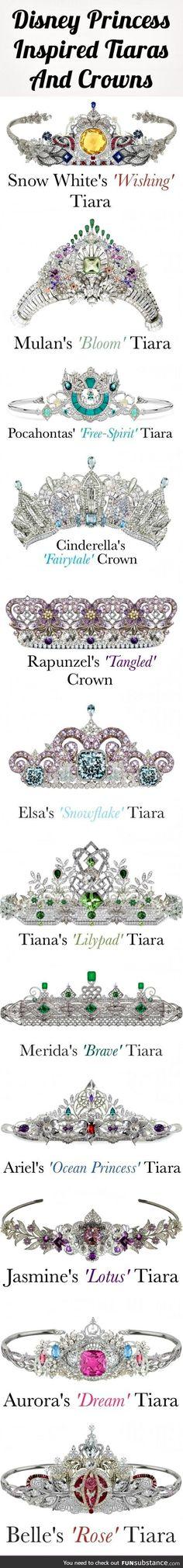 12 Disney Princess Tiaras And Crowns…All Set With Beautiful Diamonds, Gems Precious Stones. - I'll take the Cinderella, Rapunzel and of course Ariel tiara, please!
