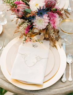 navy gold white  table plate setting