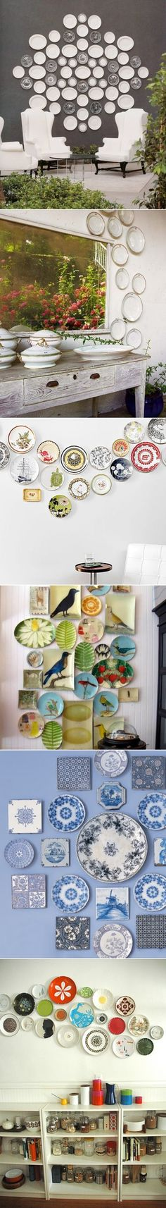 DIY Plates Wall Collage - for all the plates, spoon rests, etc. I've collected over the past years... After all, some artist designed the pattern(s)...