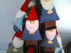 Felt gnome ornaments - could work for snoow white and the 7 dwarfs