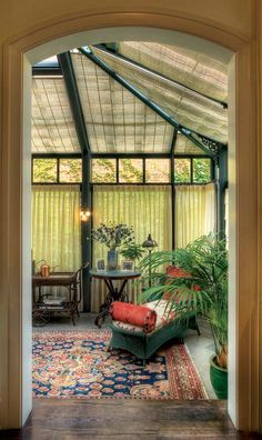 would love to have something like this: A conservatory, added off of the kitchen and breakfast room, contributes an upscale Victorian-era detail and brings more light into the house.