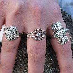 Rings N Things, Deco Engagement Ring, European Cut Diamonds, Art Deco Ring, Jewel Box, Rose Cut Diamond, Antique Rings, Vintage Inspired, Love Her